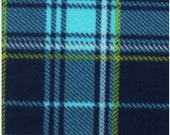 Aspen Navy Lime Plaid Fleece Adult Size Blanket with Navy Back  jonesk9366