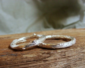 Wedding Ring Set Twig Band Rings Sterling Silver Rustic Weddings Botanical Jewelry