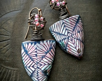 Ceramic, Rustic, Tribal, Vintage, Hoops, Primitive, Wire Wrapped,  Polynesian Tapa Cloth, Clay Beads, Organic, Beaded Earrings