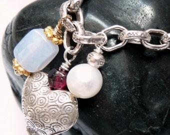 Artisan Sterling Silver Chunky Link Heart Charm Gemstones Pearl 14kt OOAK Valentine Love Boho Hippie Festival Funky Gift for Her Bracelet