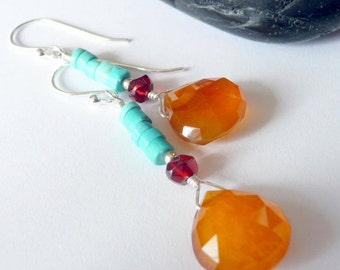 Artisan Amber Chalcedony Garnet Turquoise Sterling Silver OOAK Southwestern Western Boho Cowgirl Gift for Her Long Dangle Gemstone Earrings