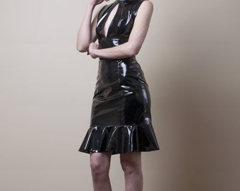 PVC Pencil Dress with Keyhole Slit-Small (Sale)