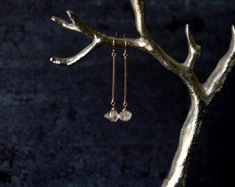 Gold Herkimer Diamond Earrings Minimalist Dangles by Vitrine Designs wedding jewelry Gift for her Under 50