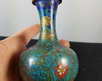 Antique Asian Cloisonne Miniature Posy Flower Vase