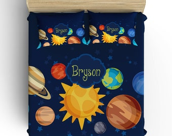 OUTER SPACE BEDDING Comforter, Planets Boy Duvet Cover, Pillow Sham, Navy Yellow, Toddler, Twin, Queen, King, Monogram Solar System Galaxy