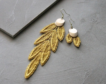 mismatched earrings | VIDA | shoulder duster earrings, mustard lace earrings, asymmetrical earrings, boho chic earrings, boho bride, modern