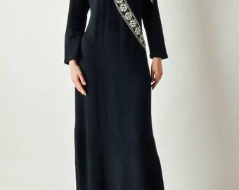 ON SALE Vintage Adolfo Studded Black Knit Dress