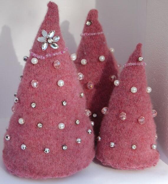 Christmas Tree Trio: Felted Wool Christmas Trees Christmas Tree Trio With Faux