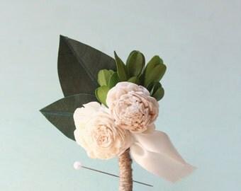 Wedding boutonniere, Spring wedding, groomsmen button hole, Dried flower boutonniere, Magnolia and Sola flower, Woodland Wedding  (1 bout)