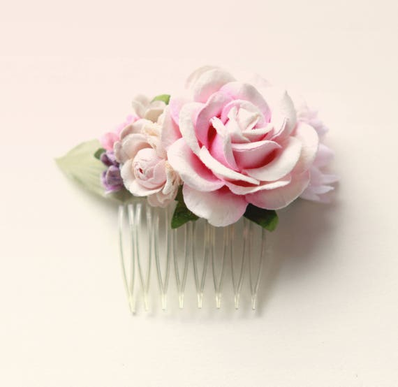 Tiny pink flower hair comb, Vintage millinery comb, Unique pink flower clip, bridal headpiece, Pastel pink rose, Bridal hair, Pink rose