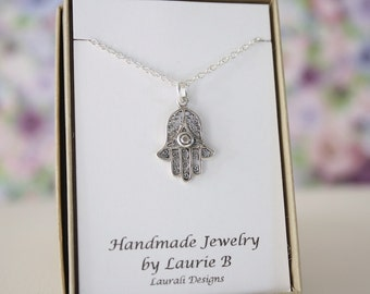 Hamsa Hand Charm Necklace, Friendship Gift, Sterling Silver, Bestie Gift, Ancient Symbol Charm, Thank you card, Yoga Charm