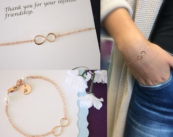 Personalized Infinity Rose Gold Bracelet, Eternity Jewelry, Bridesmaid Gift, Best Friend Thank You Card, Initial Charm, Pink Gold Bracelet,