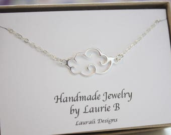 Cloud Charm Necklace, Sterling Silver thin design, Cloud, Puffy Cloud, BFF, Sky,  Cloud Silver Charm, Small Cloud Charm