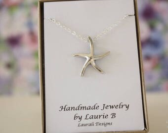 Starfish Charm Necklace, Friendship Gift, Sterling Silver, Bestie Gift, Silver Starfish, Ocean Life Necklace, Shell Charm Thank You Card