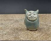 ice blue owl plant watcher - original porcelain art