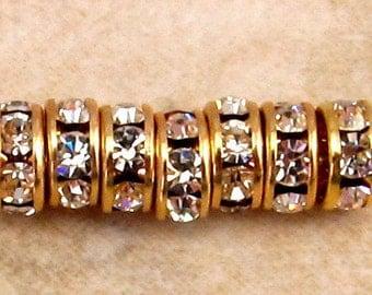 Gold Rhinestone Rondelle 5mm Crystal 12 Pc. C311