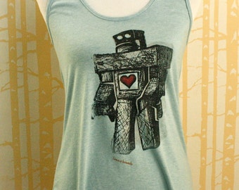 NEW Lonely Robot Tank in 100% recycled poly/cotton, choose your size and color, made in USA