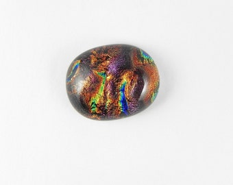 Dichroic Fused Glass Cabochon - Brown Plum - 1741 - 19.5mm x 16mm