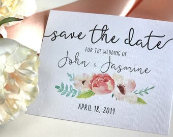Save the date, Save the date cards, Floral, Wedding, DIY, Watercolor Wedding, Printed, Printable, flowers, getting married