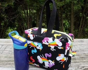 Insulated Lunch Bag Lunch Box Cooler Rectangle Unicorns on Black Damask Ready To Ship