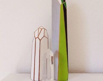 Green & Silver Modern Wooden Crystal Sculpture Small Unique Art Office Art Objet D'art Boho Sculpture Faceted Geometric Colorful Art