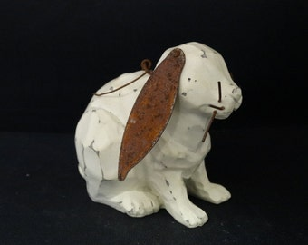 Easter Rabbit Figure, Floppy Ears, Tin Ears Country Folk Art Easter Rabbits. Easter Basket, Peter Cotton Tail, Brown Rabbit, Folk Art
