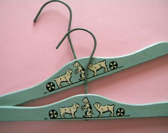 2 Vintage Wooden Hangers with Dogs and Balls Children's Clothes Hanger