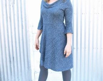 Hemp Prairie Dress, Organic Cotton Bell Sleeved Dress, Organic Woman's Clothing