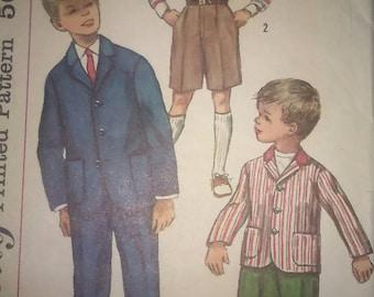Vintage 50s Sewing Pattern Simplicity 1980 Boys Shorts Slacks and Blazer
