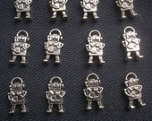 6 Little Robots Retro Silver Tone Metal Charms