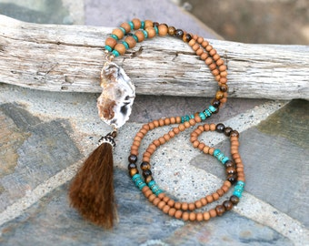 Sandalwood, African Amazonite, Tiger Eye and Druzy Crystal Agate Slice Tassel Necklace, Bohemian Necklace, Long 30 Inches, Tan and Aqua Blue