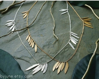 Silver Multi-Leaf Necklace | Sterling Silver Necklace