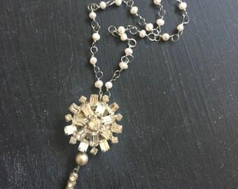Trinket No. 3 Pearl Rhinestone Vintage Necklace Fancy Bride Wedding Datenight Handmade Sparkle Shine