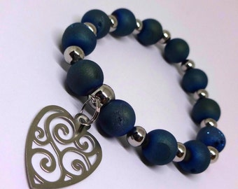 Womens Metallic Titanium Blue Natural Agate Bracelet-Druzy Beads, All Metal 316L Stainless Steel, Stainless Beads, Heart Charm, Mothers Day