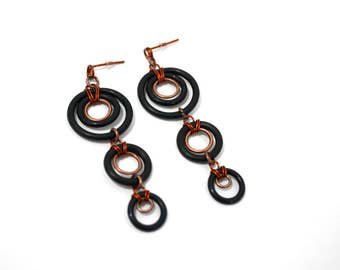 Rubber earrings,copper earrings,dangle earrings,urban style,rock style,pop style,boho chic,vegan jewelry,black,copper,gift for her