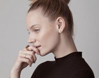 Suzie Earrings, mixed metal earrings, geometric stud earrings, minimalist stud earrings, v shaped stud earrings, tiny stud