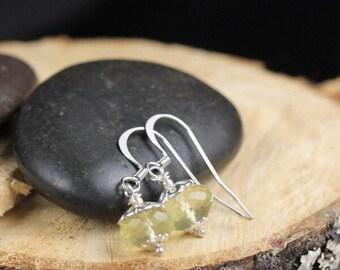 Faceted Lemon Quartz Rondelle Earrings Semi Precious Gemstone