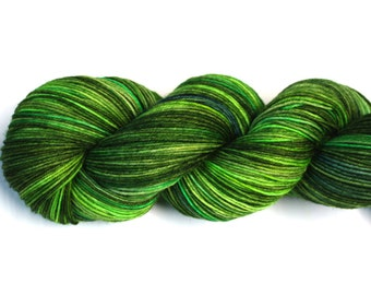 Greens--hand dyed sock yarn, merino and nylon, (463yds/100gm)