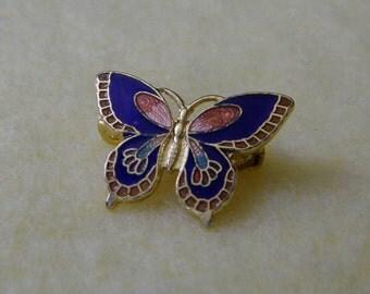 Vintage Petite Cloisonne Butterfly Brooch Pin, gold tone small enamel butterfly