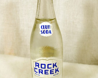 Vintage ACL Bottle 12 Oz. Rock Creek Sparkling Water - Club Soda - Rock Creek Ginger Ale Co, Washington, DC