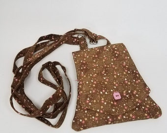 Cross body Wallet CLEARANCE SALE, phone wallet, mini purse, brown with pink stars
