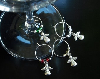 Angel Wine Glass Charms - Wine Markers - Set of 4 - wine lover gift