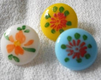 Set of 3 VINTAGE Painted Flower on Glass BUTTONS