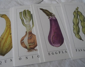Set of 8 VINTAGE Litho Vegetable Prints Note Cards to Frame or Collage