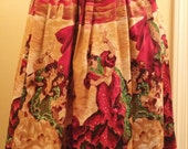 Ole! Sequined Flamenco Dancers w Bullfighters Vintage 50s 60s Cotton Full Skirt L 32waist