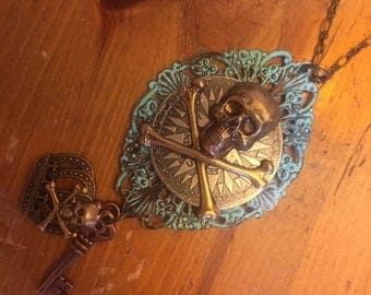 Pendant Necklace Steampunk Pirate Gothic Compass with Skull and Crossbones Verdigris Filigree