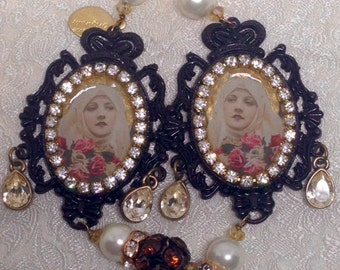 Lilygrace St Therese Cameo Earrings with South Sea Pearls, Vintage Rhinestone Chain and Velvet beads