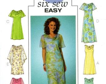 Butterick B4128 Six Easy Sew Drape Front Dress Sleeveless Sheer Sleeves Size 20 22 24 Uncut Sewing Pattern 2004