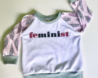 feMINIst, mini feminist raglan shirt