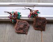 Evil Eye Protection Earrings Purple Amethyst Gemstone Green Crystal & Red Bead Fringe Gypsy Bohemian Style Earrings Bronze Ear Wires